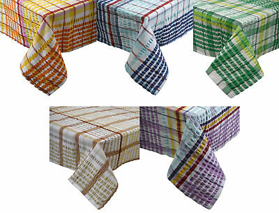 Traditional Bright Seersucker Table Cloth 100% Cotton Checked Dining Room Linen • 18.99£