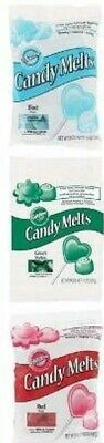 Wilton Candy Melts Chocolate Baking Buttons Pop Treats Cakes Blue Red Green New • 10.99£