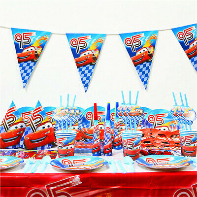 Disney Cars McQueen Lightning Birthday Party Balloon Decoration Plate Cup Napkin • 4.99£