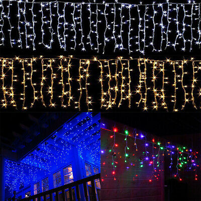 US Christmas Wedding Indoor Outdoor LED Icicle Curtain Lights Decor String Light • 8.54$