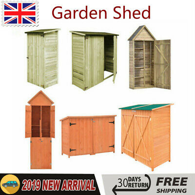 Garden Shed Wooden Tool Storage Shelves Utility Cabinet Apex Roof With Doors • 330.79£