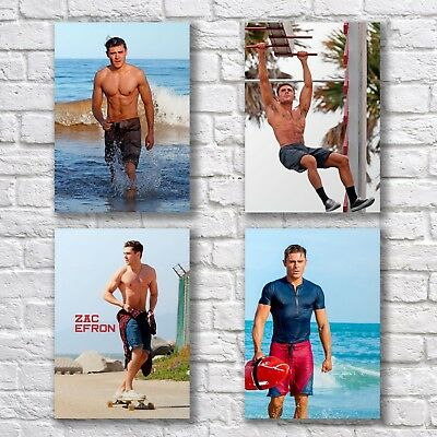 Zac Efron Poster A4 NEW Shirtless Sexy Hot Body Hunk Baywatch Home Wall Decor • 4.50£