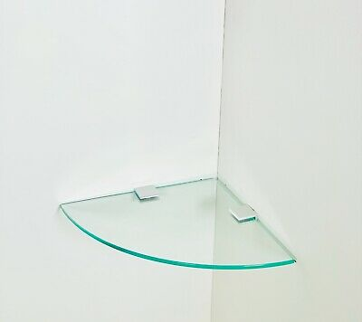£9.99 • Buy Toughened Wall Mounted Glass Corner Shelf With Silver Finish Supports