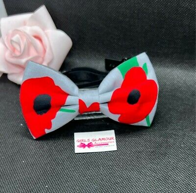 Poppy Bow Tie Necktie Neck Dickie Remembrance Day Lest We Forget • 4.99£