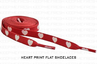 £7.27 • Buy Heart Print Shoelaces Flat Love Laces Nike Adidas Converse 143 Buy 2 Get 1 Free