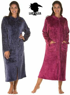 Ladies Luxury Soft Feel ZIP Front Dressing Gown Robe Wrap Plus Size UK 10 12 14 • 22.99£