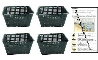 4 Large 19cm Square Plastic Aquatic Pots Baskets For Water Plants And Pond   • 8.95£