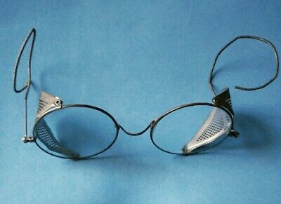 $19.95 • Buy OLD Antique Wire Rim Round Clear Safety Glasses Goggles Steam Punk Mesh USA