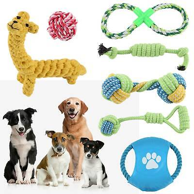 7pc Dog Rope Chew Toys Kit Tough Strong Knot Ball Pet Puppy Cotton Teething Toy • 10.99£