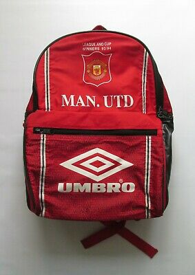 Manchester United 1993/1994 League Cup Winners School Backpack Bag Umbro Shirt • 54.99£