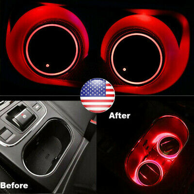 $15 • Buy 2pc Solar Cup Pad Car Accessories LED Light Cover Interior Decoration Light RED