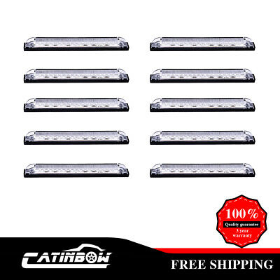 10xBlue 8  Led Utility Strip Light Marker 18LED Bosts Lighting RV Boat Truck 12V • 41.82$