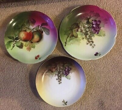$35 • Buy 3  J & C Bavaria  Louise  Hand Painted Signed Porcelain Plates Apples & Grapes