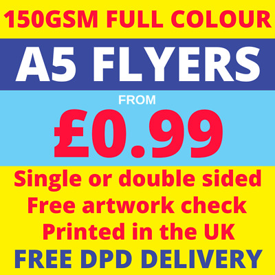 £42.50 • Buy A5 Flyers / Leaflets - Printed Full Colour - Single Or Double Sided - Free P&p