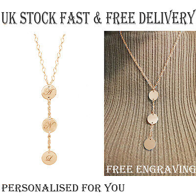 AU36.46 • Buy Personalised Rose Gold Plated Y Necklace Disc Letter Name Birthday Xmas Gift UK