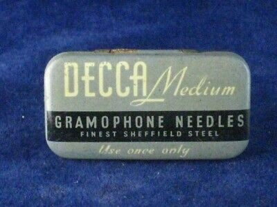 39940 Old Antique Vintage Gramophone Needle Tin Box Record Player Decca • 9£