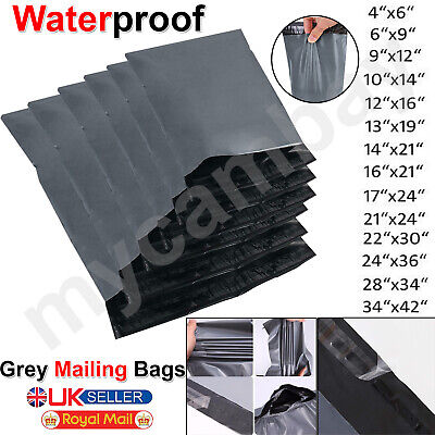 Strong Grey Mailing Bags Seal Parcel Postal Postage Plastic Post Poly Self Mail • 3.95£