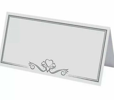 £2.25 • Buy 25 White Place Settings Name Cards Party Dinner Christmas Wedding Table Heart