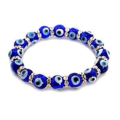 $6.95 • Buy EVIL EYE BRACELET 10mm Glass Bead Blue Stretch Good Luck Protection Lampwork NEW