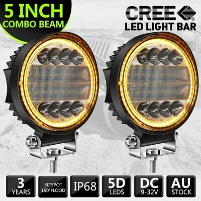 AU38.88 • Buy Pair 5  Inch Round LED Work Lights Spot Flood Offroad Driving Fog Amber Lamps