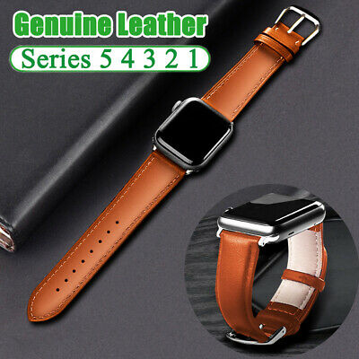 $ CDN5.36 • Buy Genuine Leather Strap Watch Band For Apple Watch Series 5 4 3 2 1 44 40mm Strap