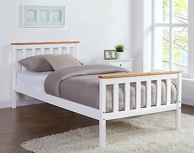 Pine Oak White Wooden Bed Frame Single Double Or King Size Bed Solid Wood • 69.99£