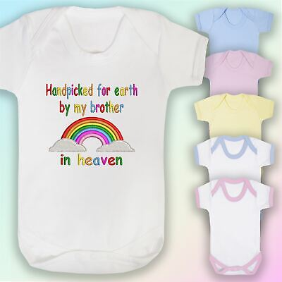 Handpicked Brother In Heaven Embroidered Baby Vest Gift Rainbow Unisex • 6.75£