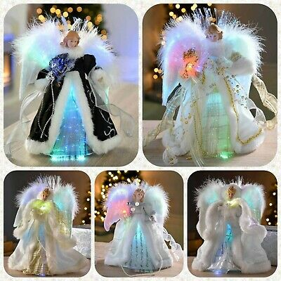 Pre-Lit Colour Changing Christmas Tree Topper Angel Decorated Fibre Optic Fairy • 29.99£