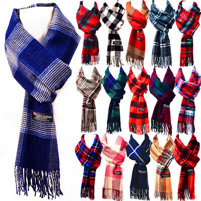$5.99 • Buy Winter Womens Mens 100% CASHMERE Checked Scarves Wool SCOTLAND Made Plaid Scarf