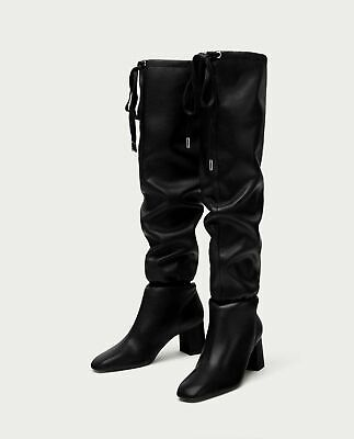 NWT New Zara Black Leather Over The Knee Gathered Detail Boots Shoes US 6.5, 37 • 55.99$