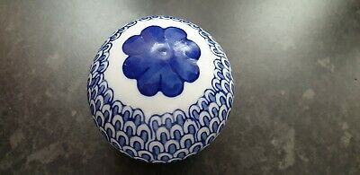 Blue White Pottery Ball Sphere Mask Present Gift Gel Idea Collectable  • 9.99£