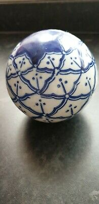 Blue White Pottery Ball Sphere Present Gift Idea Collectable Birthday Mask • 9.99£