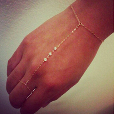 £3.95 • Buy New Sexy Gold Chain Crystal Charm Bracelet Finger Ring Slave Hand Harness UK