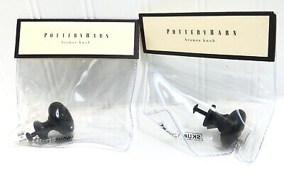 $11 • Buy NEW Pottery Barn Vintage Bin Pull Black Bronze Drawer Pull Set Of 2