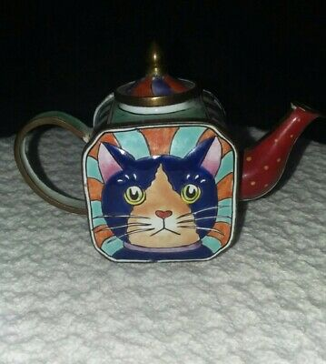 $14.50 • Buy Enamel Miniature Teapot TrinketBox With Removable Lid- Cat Design Colorful