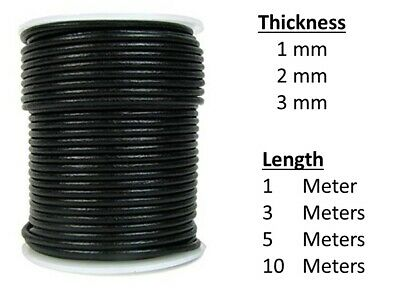 Real Leather Round Cord/String/Thread For Jewelry Making Necklace Pendant • 1.29£