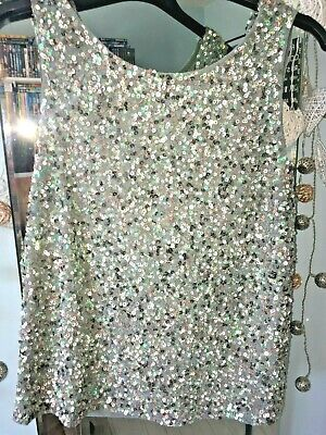 £19.99 • Buy Coast Party Cocktail Immaculate Sequin Green Gold Bronze Scoop Neck Top Size 6