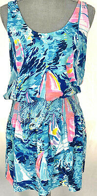 LILLY PULITZER Bright Sailboat Tank Dress Tunic Swimsuit Cover Up - Medium • 34.50$