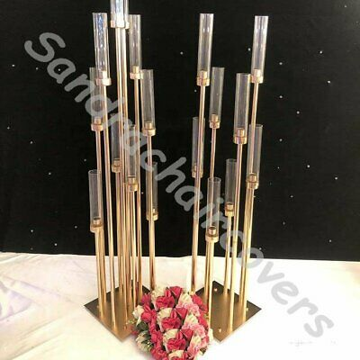 £89.99 • Buy Weddings Tall Gold Candelabra Candle Holder Gold Metal Wedding Table Centerpiece