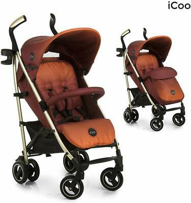 New Hauck Icoo I'coo Pace Pushchair Buggy Pram+Raincover+Cosytoes Mocca Orange • 109.99£