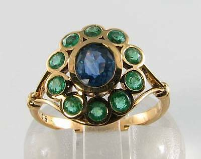 £319 • Buy Lush 9ct 9k Gold Blue Sapphire Emerald Cluster Art Deco Ins Ring Free Resize