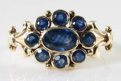 £289 • Buy 9k 9ctgold Blue Sapphire Cluster Art Deco Ns Ring Free Resize