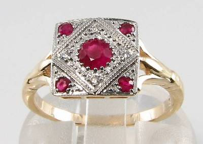 £249 • Buy Class  9ct Gold Indian Ruby Diamond Art Deco Ins Ring Free Resize