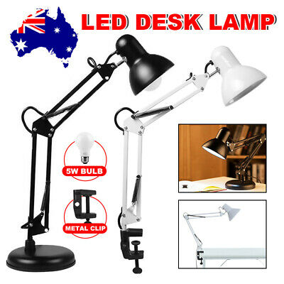 AU23.95 • Buy Super Bright Swing Arm Desk Lamp Clamp On Table Light With LED Bulb & Metal Clip