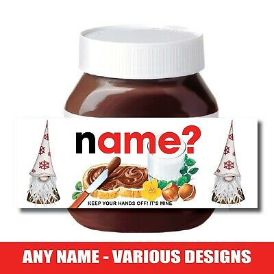 CHRISTMAS Personalised Fits Nut Chocolate Spread Jar LABEL Sticker Gift XMAS • 2.27£