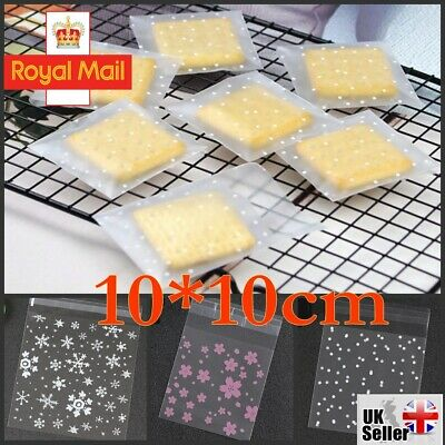 £3.99 • Buy 100PCS XMAS Cellophane Bags Party Cello Cookie Candy Biscuit Gift Bag 10*10cm UK