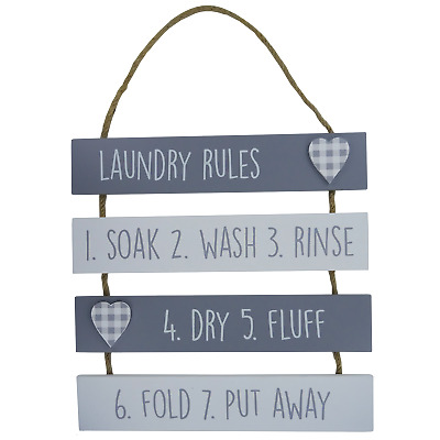 Plaque Laundry Rules Soak Wash Rinse Dry Fluff Grey & White Wooden Wall Sign • 7.99£