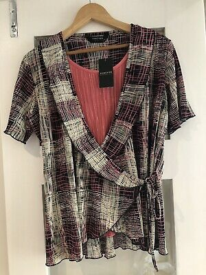 £6.99 • Buy Forever By Michael Gold 2 Piece Look Wrap Top / Black / Pink L (16) Brand New