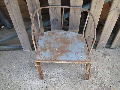 Antique Seat Tractor, Forged Iron Deco Workshop Chalet Vintage French Antique • 32.60£