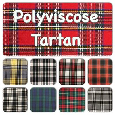 POLYVISCOSE TARTAN FABRIC - Lots Of Designs, Great Quality, 150cm / 60  Wide • 7.99£